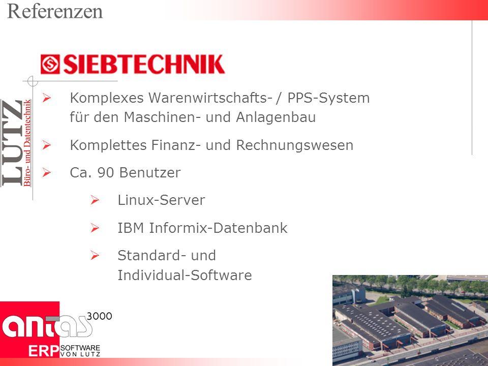 Komplexes Warenwirtschafts- / PPS-System für den Maschinen- und Anlagenbau Komplettes Finanz- und Rechnungswesen Ca. 90 Benutzer Linux-Server IBM Info