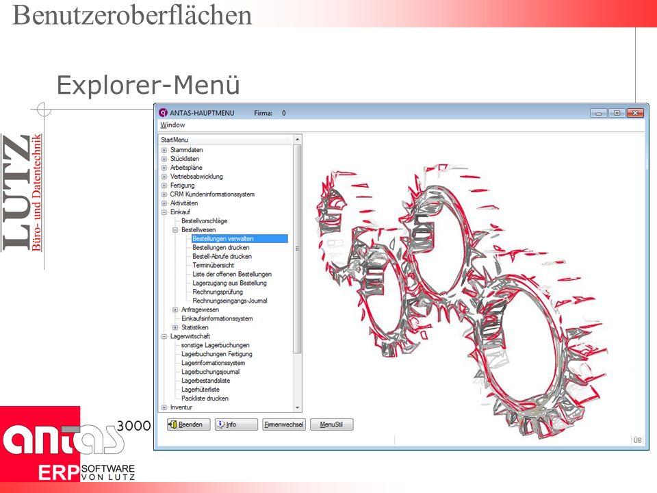 Benutzeroberflächen Explorer-Menü