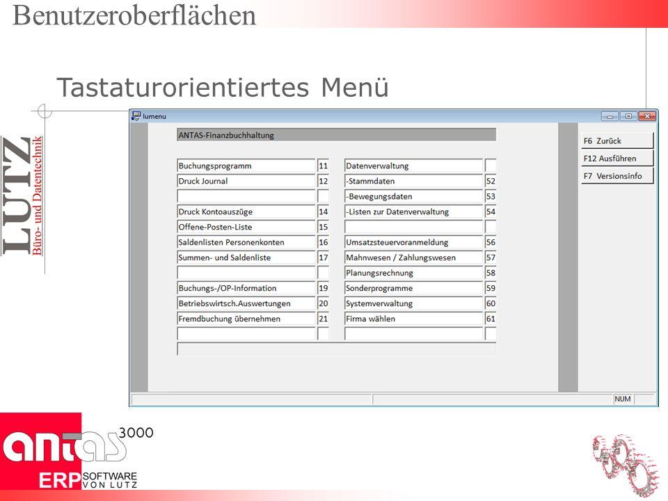 Benutzeroberflächen Tastaturorientiertes Menü