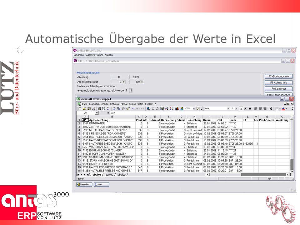 Automatische Übergabe der Werte in Excel