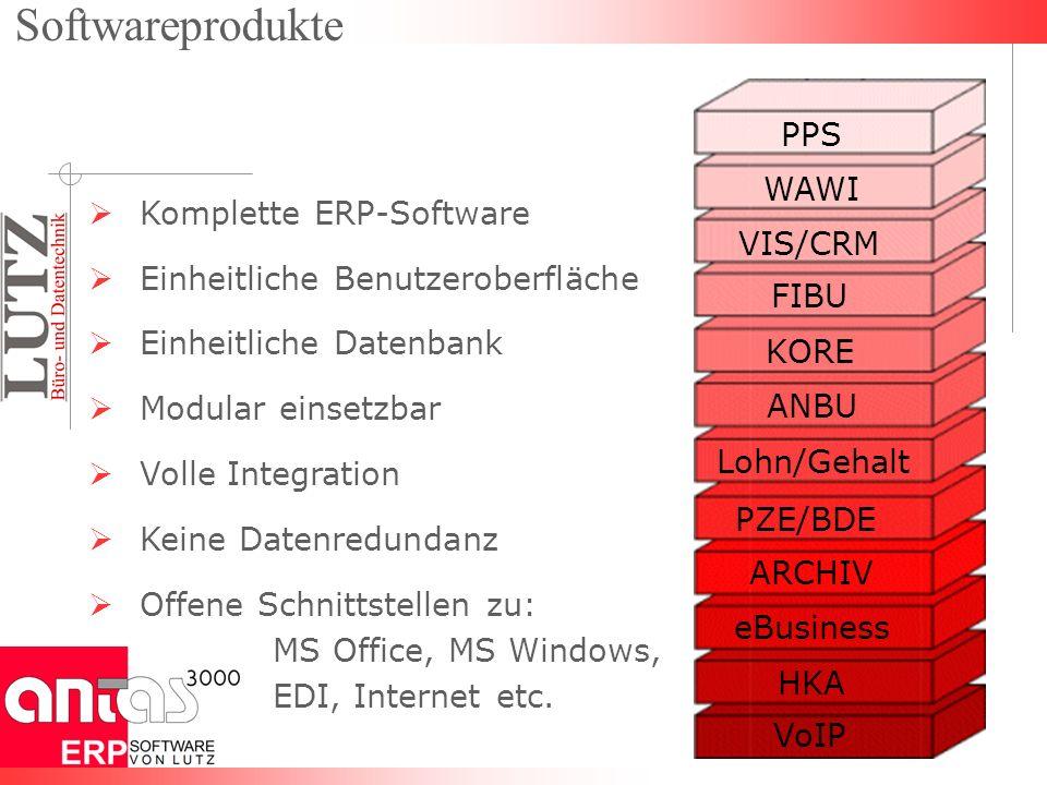 PPS WAWI VIS/CRM FIBU Lohn/Gehalt KORE ARCHIV VoIP ANBU Komplette ERP-Software Einheitliche Benutzeroberfläche Einheitliche Datenbank Modular einsetzbar Volle Integration Keine Datenredundanz Offene Schnittstellen zu: MS Office, MS Windows, EDI, Internet etc.