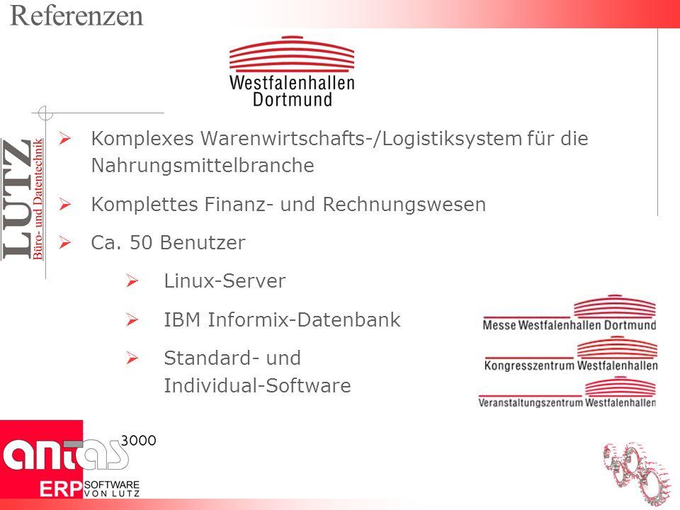 Komplexes Warenwirtschafts-/Logistiksystem für die Nahrungsmittelbranche Komplettes Finanz- und Rechnungswesen Ca. 50 Benutzer Linux-Server IBM Inform