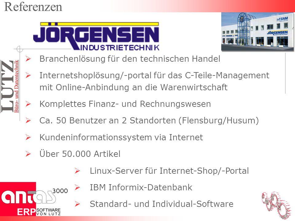 Branchenlösung für den technischen Handel Internetshoplösung/-portal für das C-Teile-Management mit Online-Anbindung an die Warenwirtschaft Komplettes Finanz- und Rechnungswesen Ca.