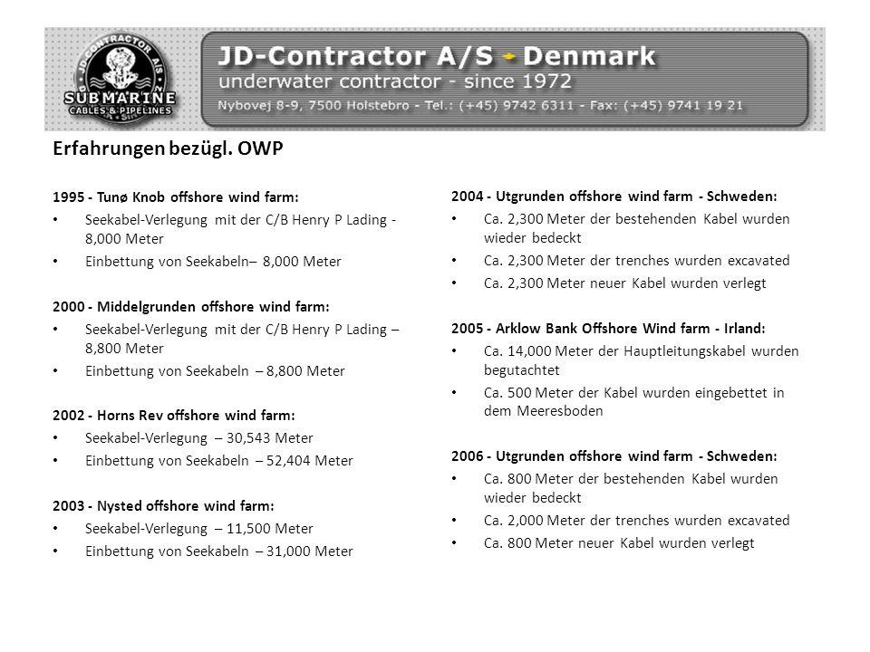 Erfahrungen bezügl. OWP 1995 - Tunø Knob offshore wind farm: Seekabel-Verlegung mit der C/B Henry P Lading - 8,000 Meter Einbettung von Seekabeln– 8,0