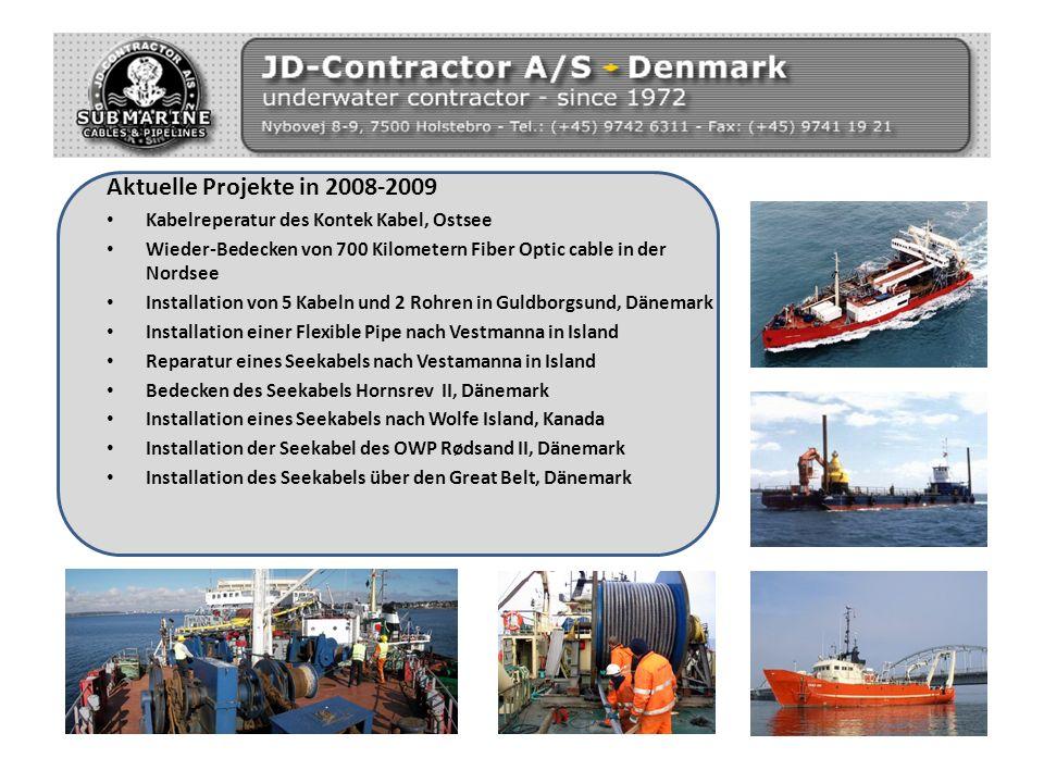 Aktuelle Projekte in 2008-2009 Kabelreperatur des Kontek Kabel, Ostsee Wieder-Bedecken von 700 Kilometern Fiber Optic cable in der Nordsee Installatio