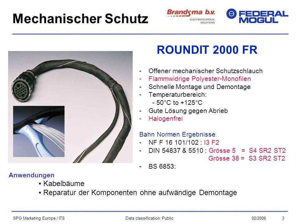 302/2006Data classification: Public SPG Marketing Europe / ITS ROUNDIT 2000 FR -Offener mechanischer Schutzschlauch -Flammwidrige Polyester-Monofilen -Schnelle Montage und Demontage -Temperaturbereich: - 50°C to +125°C -Gute Lösung gegen Abrieb -Halogenfrei Bahn Normen Ergebnisse -NF F 16 101/102 : I3 F2 -DIN 54837 & 5510 : Grösse 5 = S4 SR2 ST2 Grösse 38 = S3 SR2 ST2 -BS 6853: Mechanischer Schutz Anwendungen Kabelbäume Reparatur der Komponenten ohne aufwändige Demontage