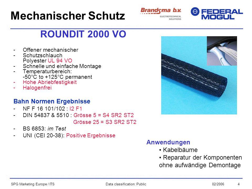 402/2006Data classification: Public SPG Marketing Europe / ITS ROUNDIT 2000 VO -Offener mechanischer -Schutzschlauch Polyester UL 94 VO -Schnelle und einfache Montage -Temperaturbereich: -50°C to +125°C permanent -Hohe Abriebfestigkeit -Halogenfrei Bahn Normen Ergebnisse -NF F 16 101/102 : I2 F1 -DIN 54837 & 5510 : Grösse 5 = S4 SR2 ST2 Grösse 25 = S3 SR2 ST2 -BS 6853: im Test -UNI (CEI 20-38): Positive Ergebnisse Mechanischer Schutz Anwendungen Kabelbäume Reparatur der Komponenten ohne aufwändige Demontage