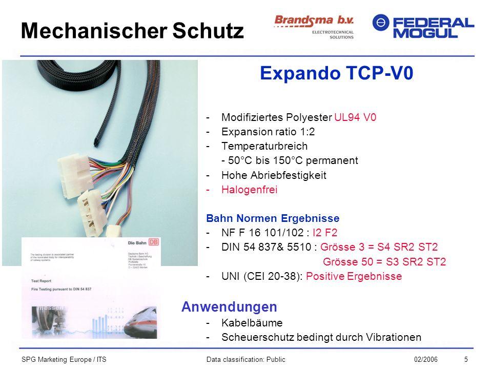 502/2006Data classification: Public SPG Marketing Europe / ITS Expando TCP-V0 -Modifiziertes Polyester UL94 V0 -Expansion ratio 1:2 -Temperaturbreich - 50°C bis 150°C permanent -Hohe Abriebfestigkeit -Halogenfrei Bahn Normen Ergebnisse -NF F 16 101/102 : I2 F2 -DIN 54 837& 5510 : Grösse 3 = S4 SR2 ST2 Grösse 50 = S3 SR2 ST2 -UNI (CEI 20-38): Positive Ergebnisse Anwendungen -Kabelbäume -Scheuerschutz bedingt durch Vibrationen Mechanischer Schutz