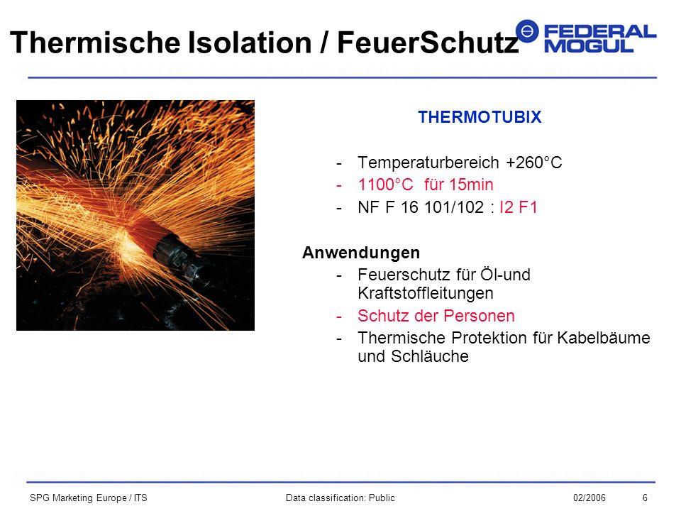 602/2006Data classification: Public SPG Marketing Europe / ITS THERMOTUBIX -Temperaturbereich +260°C -1100°C für 15min -NF F 16 101/102 : I2 F1 Anwendungen -Feuerschutz für Öl-und Kraftstoffleitungen -Schutz der Personen -Thermische Protektion für Kabelbäume und Schläuche Thermische Isolation / FeuerSchutz
