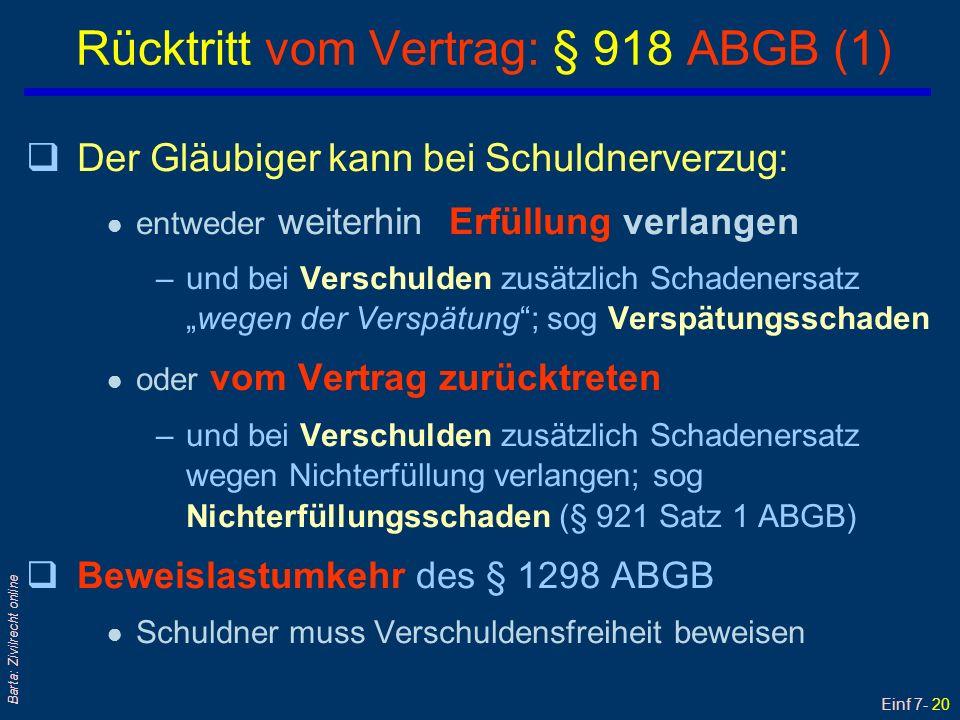 Einf 7- 21 Barta: Zivilrecht online qDas Rücktrittsrecht des Gläubigers besteht auch bei bloß objektivem Schuldnerverzug.