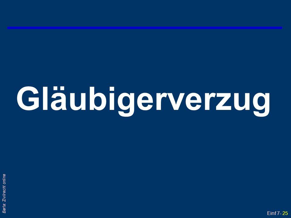 Einf 7- 26 Barta: Zivilrecht online Gläubigerverzug (1) - § 1419 ABGB qDer Gläubiger gerät in Verzug, wenn er die ihm ordnungsgemäß – real oder verbal – angebotene Leistung des Schuldners nicht annimmt; aus welchem Grund auch immer .