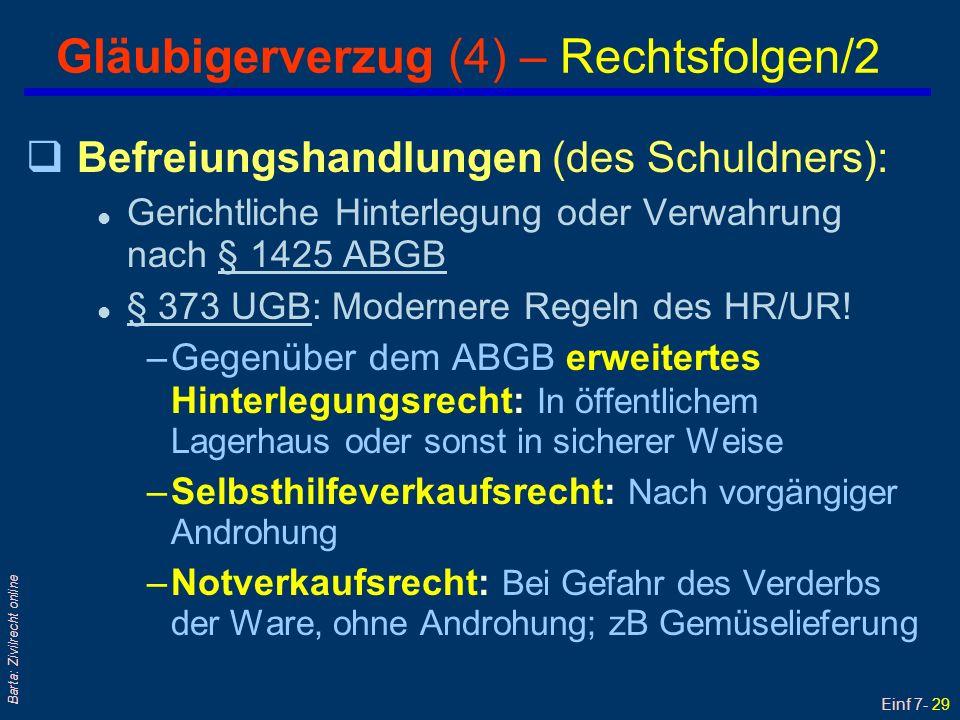 Einf 7- 30 Barta: Zivilrecht online Fixgeschäft