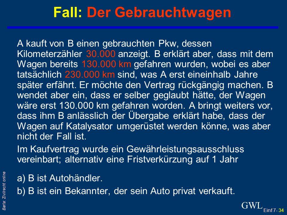 Einf 7- 35 Barta: Zivilrecht online qLeistung/ Sache/ Werk wird vom Schuldner als Erfüllung übergeben und (!) qVom Gläubiger als Erfüllung angenommen.