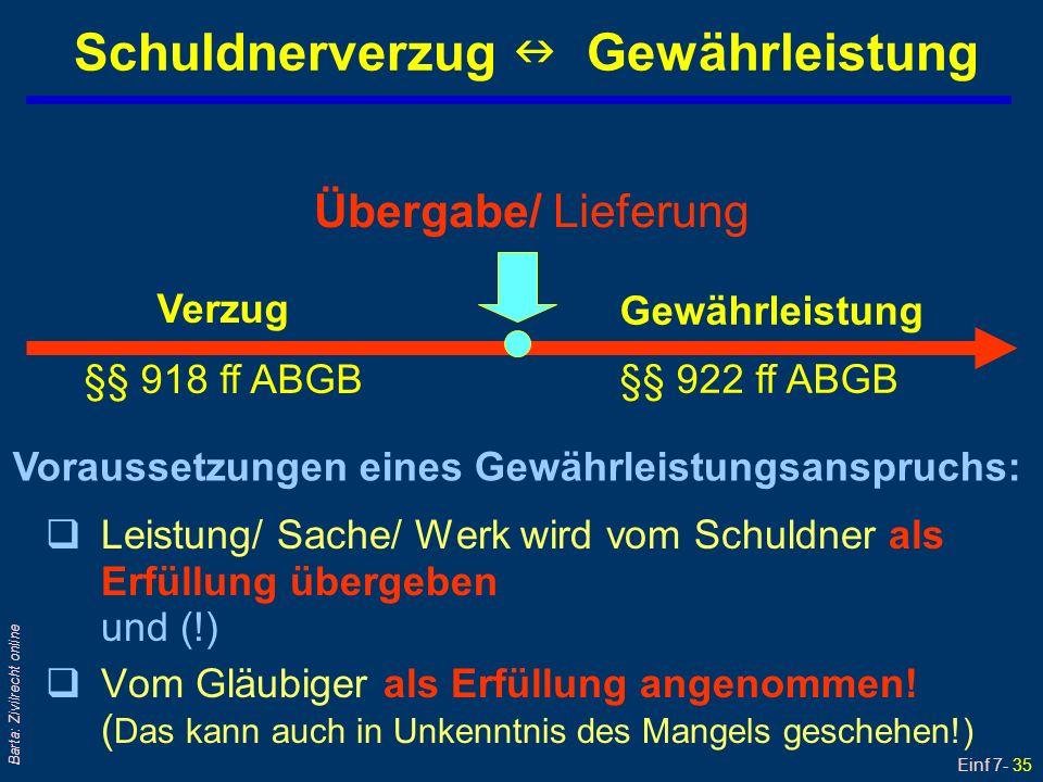 Einf 7- 36 Barta: Zivilrecht online Gewährleistung (1) qRegelungsort: §§ 922 – 933b ABGB qDefinition: GWL bedeutet Einstehenmüssen für Sach- und Rechtsmängel bei entgeltlichen Geschäften Gewährleistung = Schlechterfüllung Verzug = Nichterfüllung qGesetzliche Sonderregeln l Zession: § 1397 ABGB§ 1397 ABGB l Bestandvertrag: §§ 1096, 1097 ABGB10961097 ABGB l Mängelrüge: § 377 HGB/UGB§ 377 HGB l § 9, 9a und 9b KSchG § 9, 9a und 9b KSchG