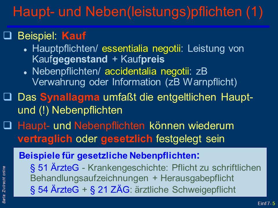 Einf 7- 6 Barta: Zivilrecht online Haupt- und Neben(leistungs)pflichten (2) qSelbständige Nebenleistungspflichten l...