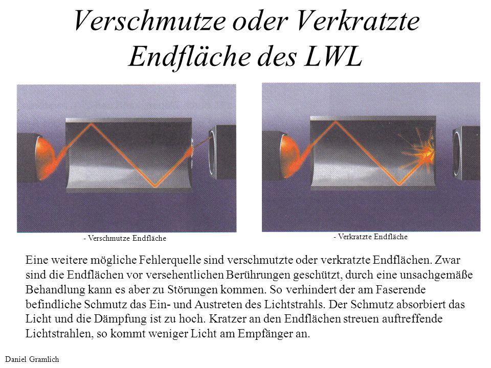Verschmutze oder Verkratzte Endfläche des LWL - Verschmutze Endfläche - Verkratzte Endfläche Eine weitere mögliche Fehlerquelle sind verschmutzte oder