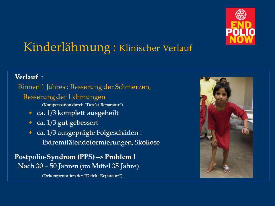Kinderlähmung : Klinischer Verlauf Verlauf : Binnen 1 Jahres : Besserung der Schmerzen, Besserung der Lähmungen (Kompensation durch Defekt-Reparatur)