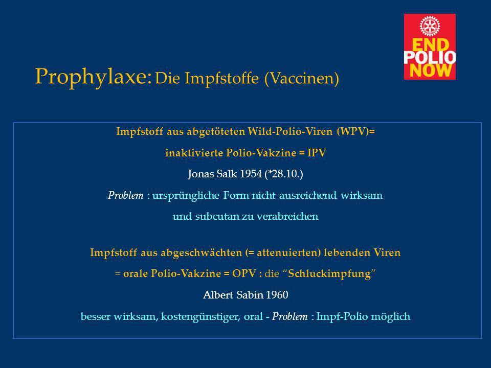 Prophylaxe: Die Impfstoffe (Vaccinen) Impfstoff aus abgetöteten Wild-Polio-Viren (WPV)= inaktivierte Polio-Vakzine = IPV Jonas Salk 1954 (*28.10.) Pro