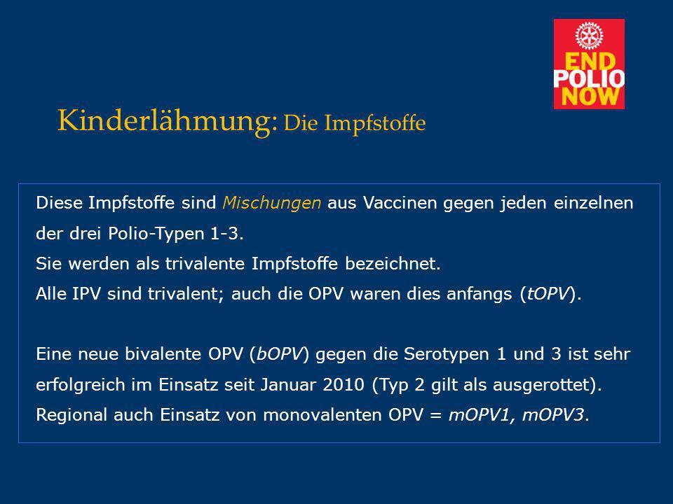Kinderlähmung: Die Impfstoffe Diese Impfstoffe sind Mischungen aus Vaccinen gegen jeden einzelnen der drei Polio-Typen 1-3. Sie werden als trivalente