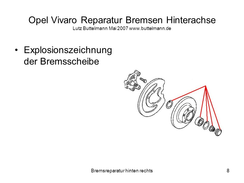 Bremsreparatur hinten rechts8 Opel Vivaro Reparatur Bremsen Hinterachse Lutz Buttelmann Mai 2007 www.buttelmann.de Explosionszeichnung der Bremsscheib