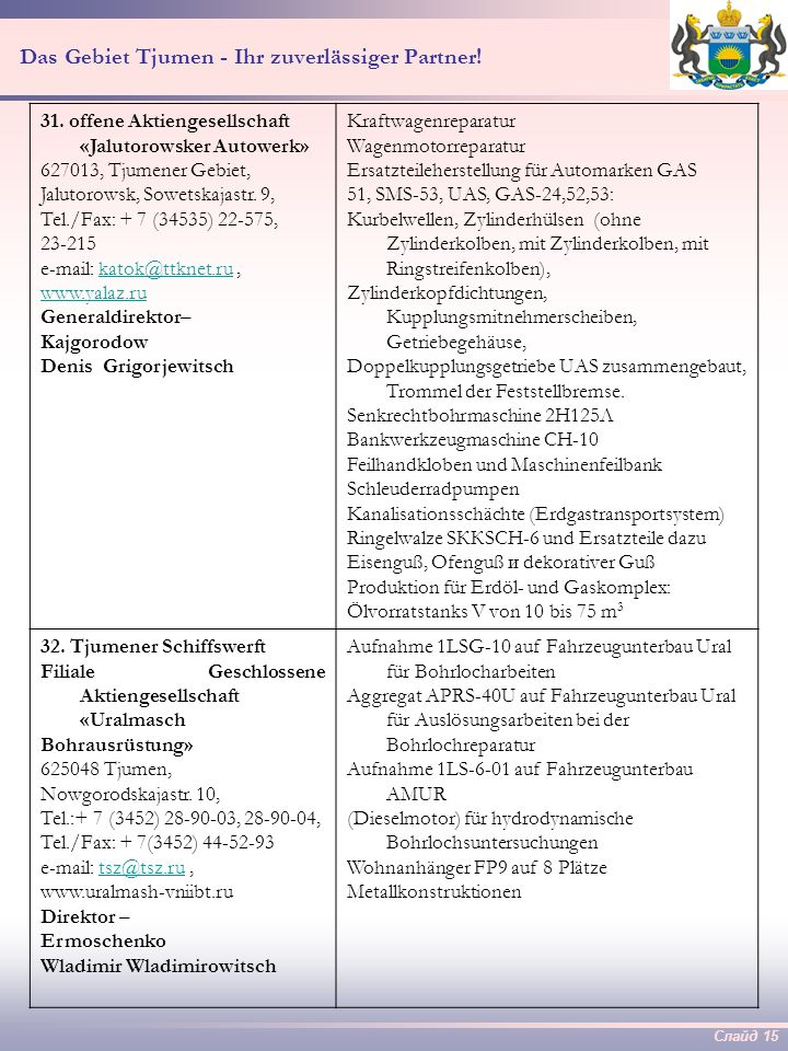 Слайд 14 Das Gebiet Tjumen - Ihr zuverlässiger Partner! 29. geschlossene Aktiengesellschaft «Tjumener Gerätebaubetrieb» 625023, Tjumen, Odesskajastr.