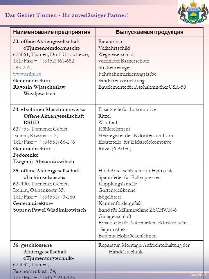 Слайд 15 Das Gebiet Tjumen - Ihr zuverlässiger Partner! 31. offene Aktiengesellschaft «Jalutorowsker Autowerk» 627013, Tjumener Gebiet, Jalutorowsk, S