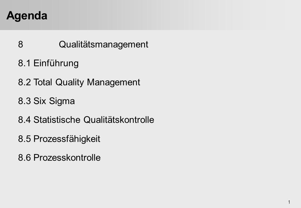 1 Agenda 8Qualitätsmanagement 8.1 Einführung 8.2 Total Quality Management 8.3 Six Sigma 8.4 Statistische Qualitätskontrolle 8.5 Prozessfähigkeit 8.6 P