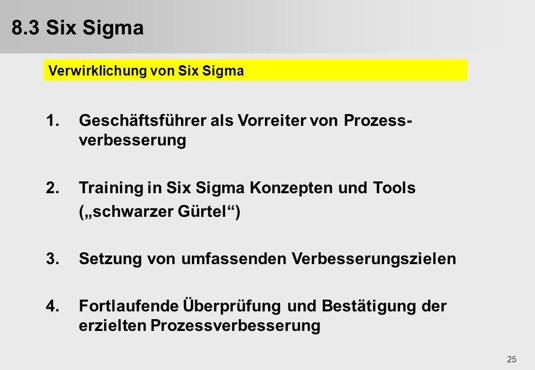 25 1.Geschäftsführer als Vorreiter von Prozess- verbesserung 2.Training in Six Sigma Konzepten und Tools (schwarzer Gürtel) 3.Setzung von umfassenden