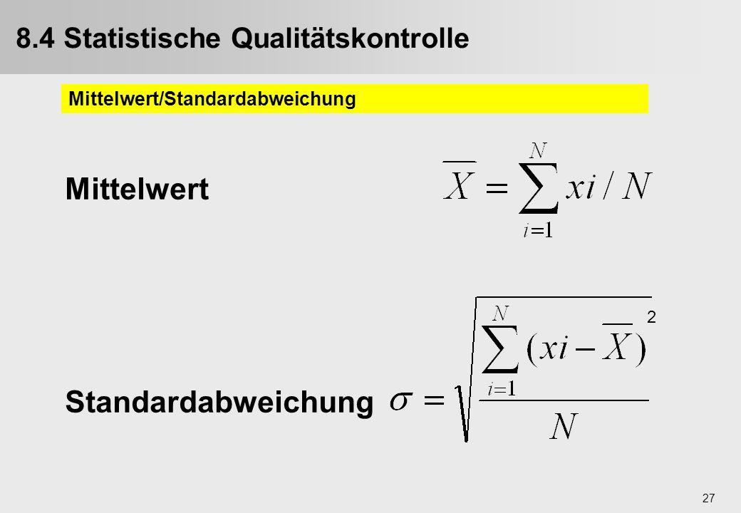 27 Mittelwert Standardabweichung 2 9.4. Statistische Qualitätskontrolle Mittelwert/Standardabweichung 8.4 Statistische Qualitätskontrolle