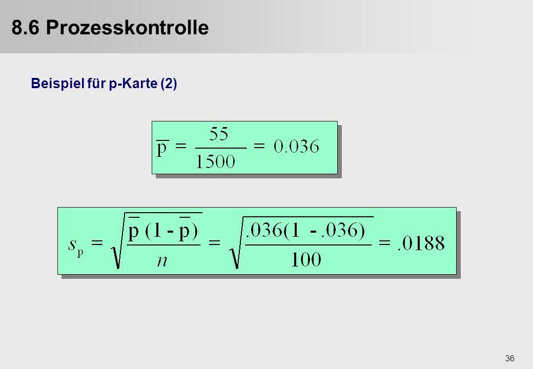 36 Beispiel für p-Karte (2) 8.6 Prozesskontrolle