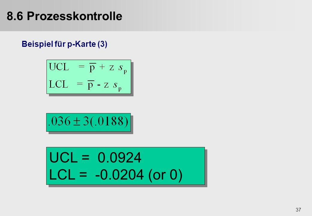 37 Beispiel für p-Karte (3) UCL = 0.0924 LCL = -0.0204 (or 0) UCL = 0.0924 LCL = -0.0204 (or 0) 8.6 Prozesskontrolle
