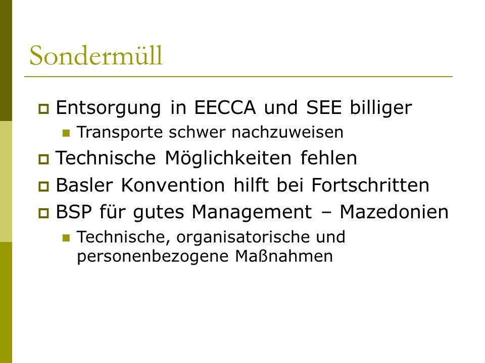 Sondermüll Entsorgung in EECCA und SEE billiger Transporte schwer nachzuweisen Technische Möglichkeiten fehlen Basler Konvention hilft bei Fortschritt