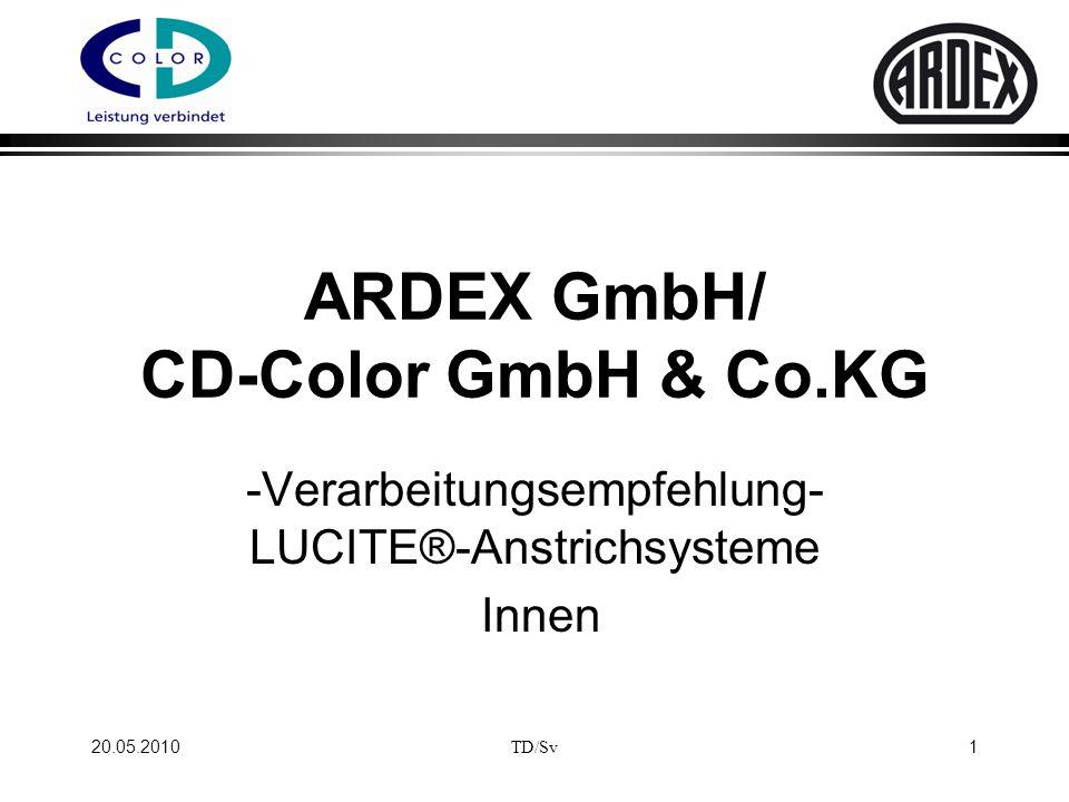 Verarbeitungsempfehlung für ARDEX-Spachtelmassensysteme mit LUCITE®-Inside Innenwandfarben: 20.05.2010 2 TD/Sv * Nikotin,- Wasser,- Öl- und Schimmelflecken vor der Schlussbeschichtung mit LUCITE® Multi-Primer isolieren.