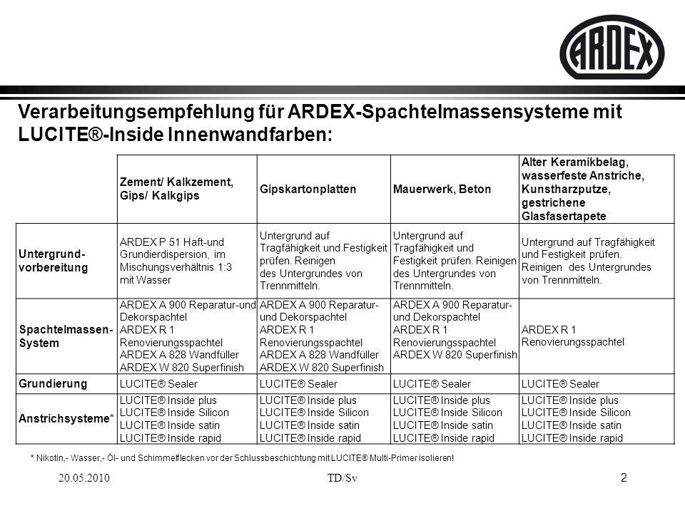 Verarbeitungsempfehlung für ARDEX-Spachtelmassensysteme mit LUCITE®-Inside Innenwandfarben: 20.05.2010 2 TD/Sv * Nikotin,- Wasser,- Öl- und Schimmelfl