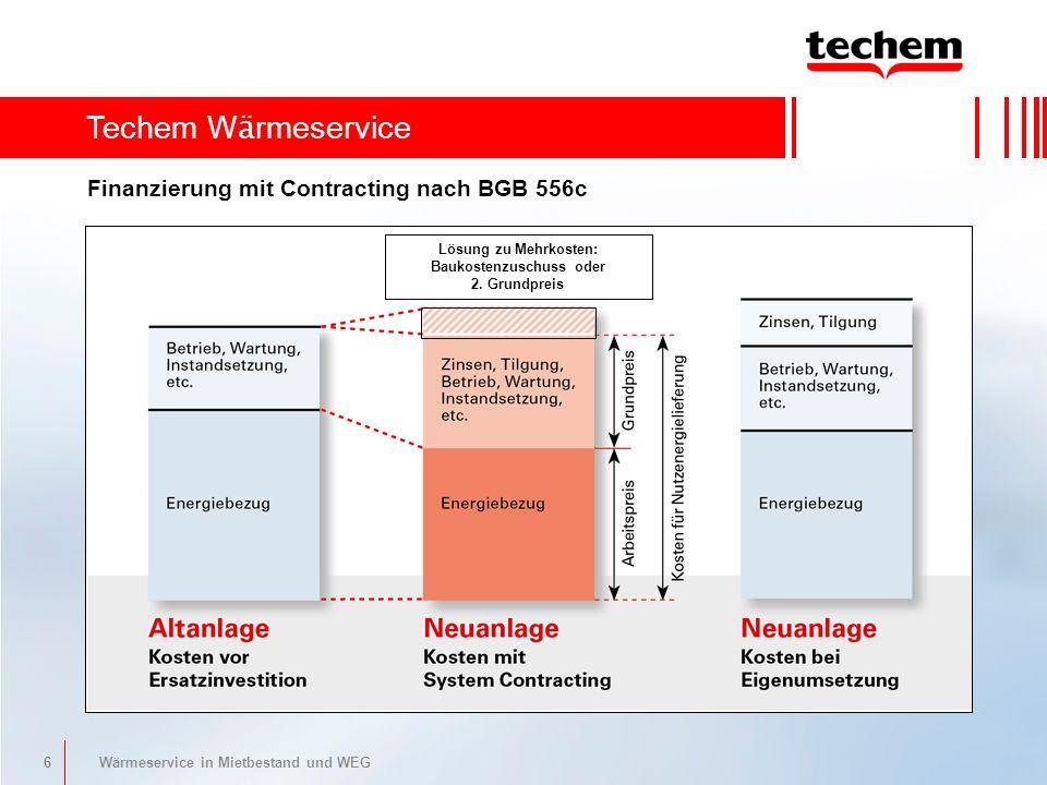 6 Wärmeservice in Mietbestand und WEG Finanzierung mit Contracting nach BGB 556c Techem W ä rmeservice Lösung zu Mehrkosten: Baukostenzuschuss oder 2.
