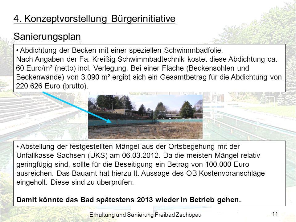 Erhaltung und Sanierung Freibad Zschopau 11 4. Konzeptvorstellung Bürgerinitiative Sanierungsplan Abdichtung der Becken mit einer speziellen Schwimmba