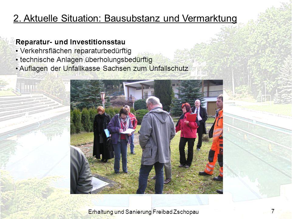 Erhaltung und Sanierung Freibad Zschopau 7 Reparatur- und Investitionsstau Verkehrsflächen reparaturbedürftig technische Anlagen überholungsbedürftig