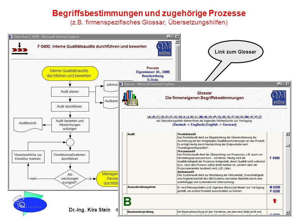 Dr.-Ing. Kira Stein Prozessoptimierung & TQM QM online® Begriffsbestimmungen und zugehörige Prozesse (z.B. firmenspezifisches Glossar, Übersetzungshil