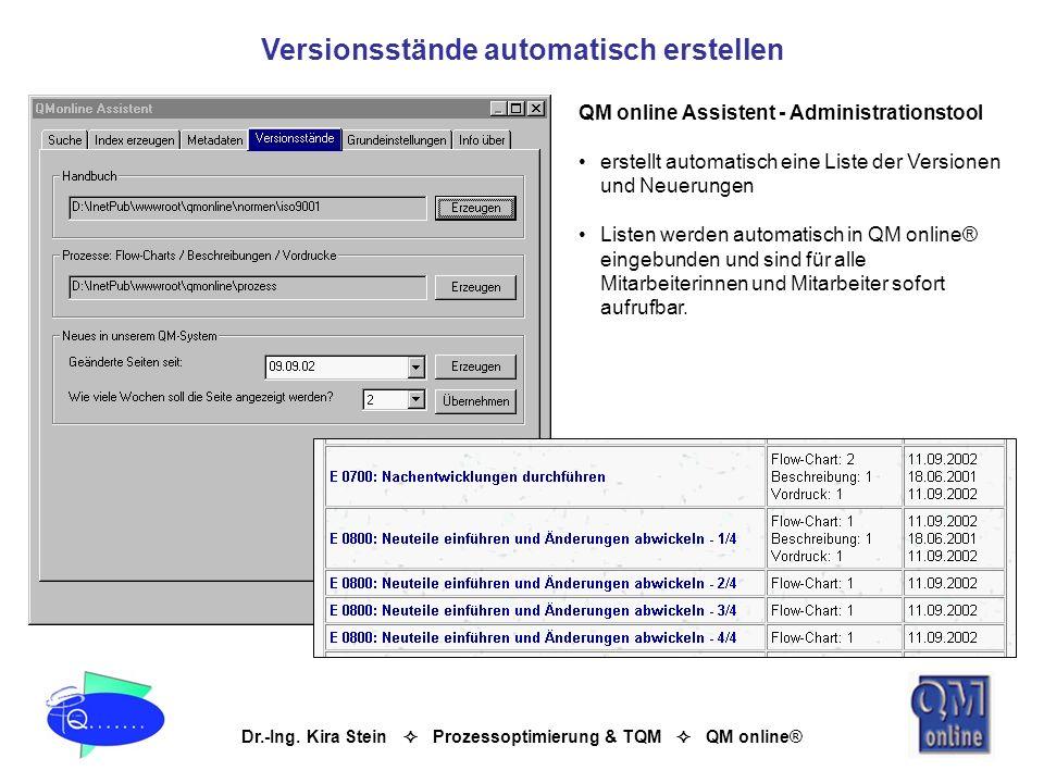 Dr.-Ing. Kira Stein Prozessoptimierung & TQM QM online® QM online Assistent - Administrationstool erstellt automatisch eine Liste der Versionen und Ne