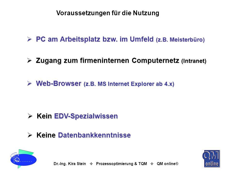 Dr.-Ing. Kira Stein Prozessoptimierung & TQM QM online® PC am Arbeitsplatz bzw. im Umfeld (z.B. Meisterbüro) PC am Arbeitsplatz bzw. im Umfeld (z.B. M