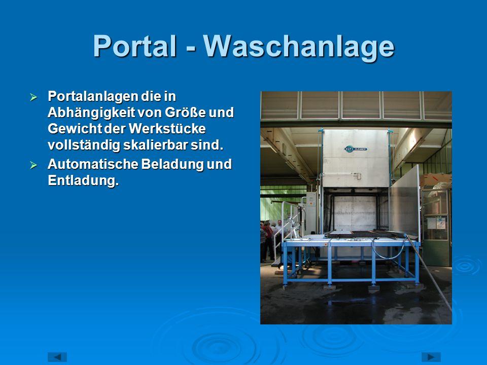 Portal - Waschanlage Portalanlagen die in Abhängigkeit von Größe und Gewicht der Werkstücke vollständig skalierbar sind. Portalanlagen die in Abhängig