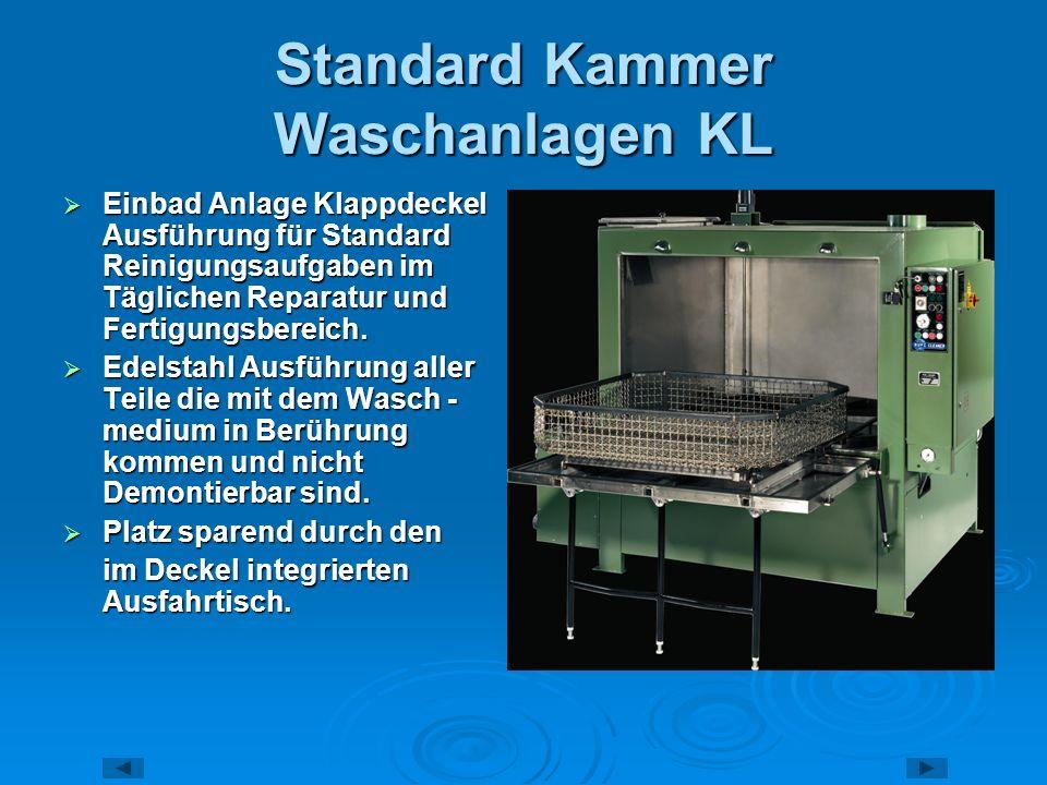 Standard Kammer Waschanlagen HP Einbad Anlage in Hubtür Ausführung für Standard Reinigungsaufgaben im Täglichen Reparatur und Fertigungsbereich.
