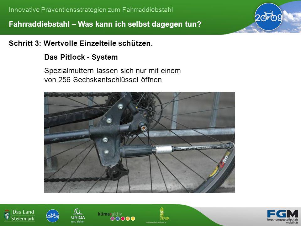 Innovative Präventionsstrategien zum Fahrraddiebstahl Schritt 3: Wertvolle Einzelteile schützen.