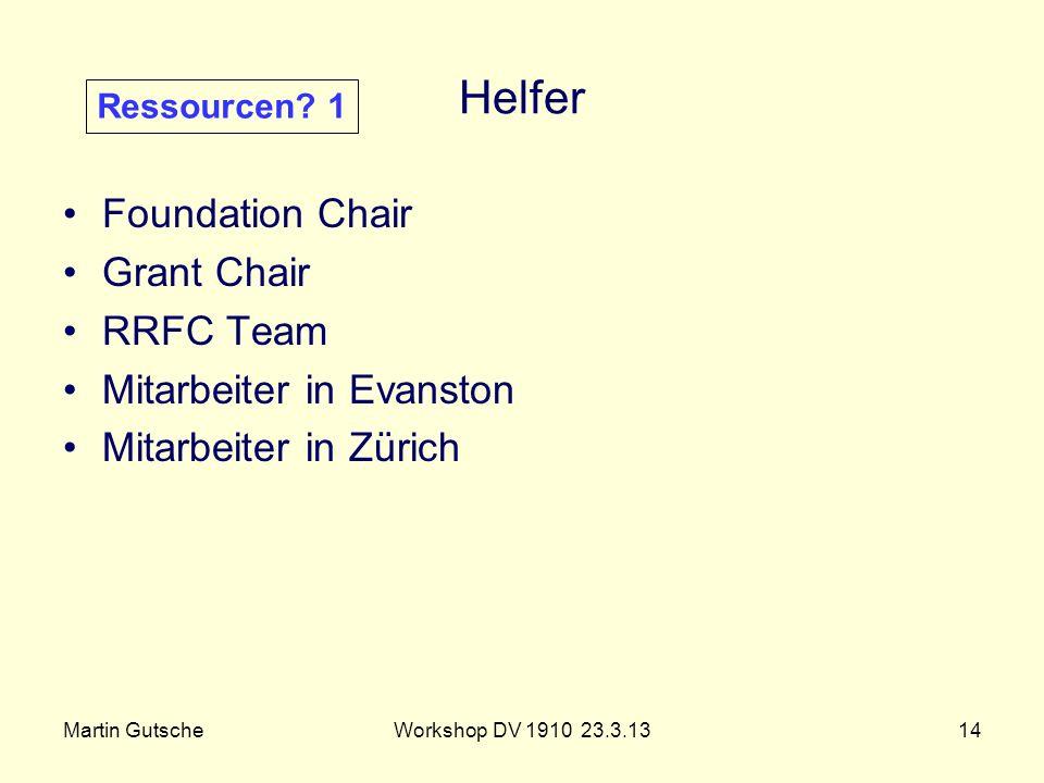 Martin GutscheWorkshop DV 1910 23.3.1314 Helfer Foundation Chair Grant Chair RRFC Team Mitarbeiter in Evanston Mitarbeiter in Zürich Ressourcen? 1