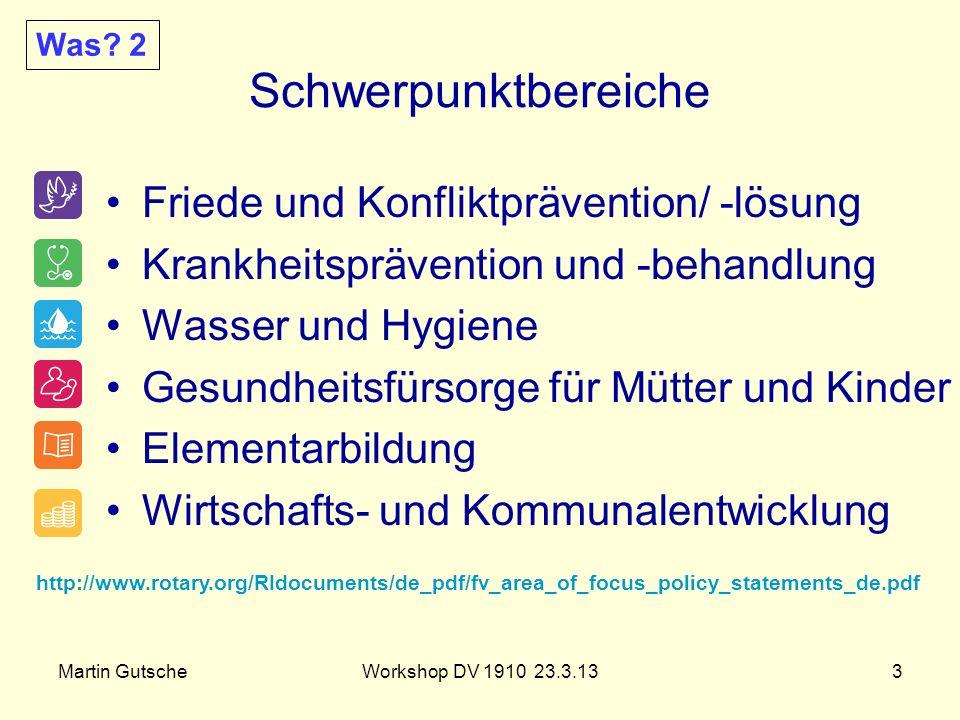 Martin GutscheWorkshop DV 1910 23.3.133 Schwerpunktbereiche Friede und Konfliktprävention/ -lösung Krankheitsprävention und -behandlung Wasser und Hyg