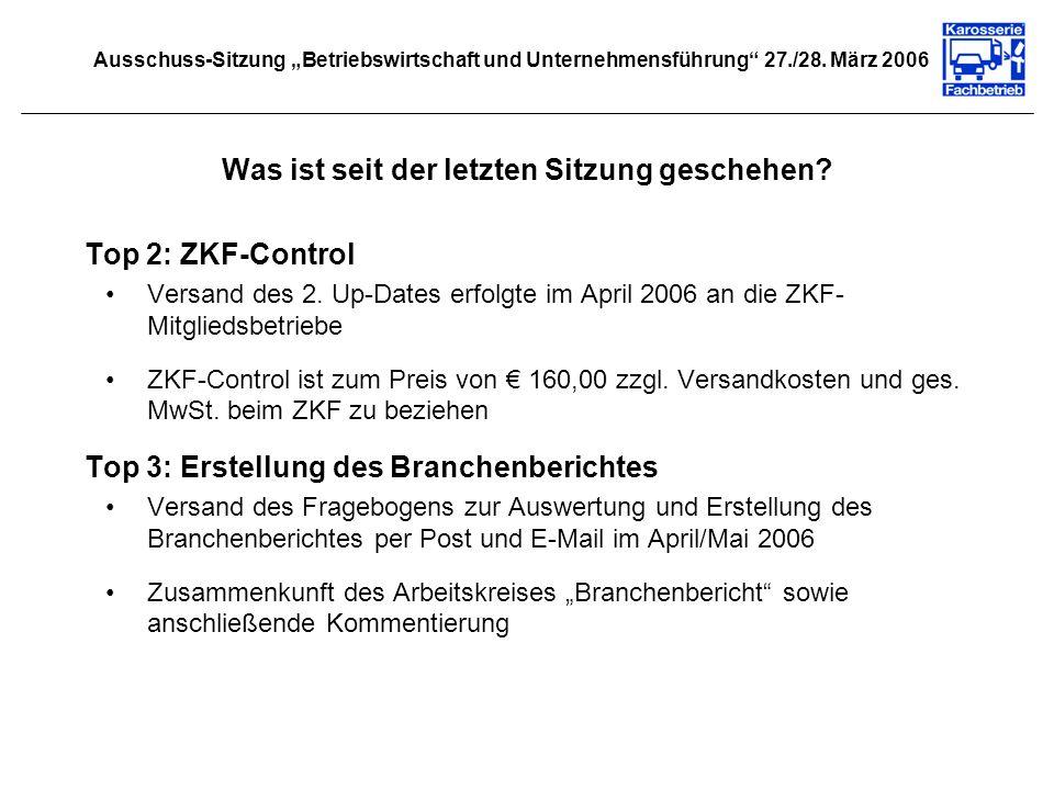 Was ist seit der letzten Sitzung geschehen? Top 2: ZKF-Control Versand des 2. Up-Dates erfolgte im April 2006 an die ZKF- Mitgliedsbetriebe ZKF-Contro