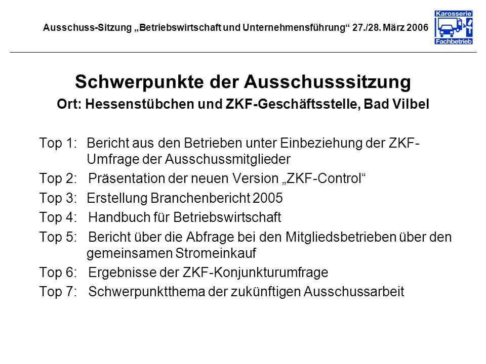 Schwerpunkte der Ausschusssitzung Ort: Hessenstübchen und ZKF-Geschäftsstelle, Bad Vilbel Top 1:Bericht aus den Betrieben unter Einbeziehung der ZKF-