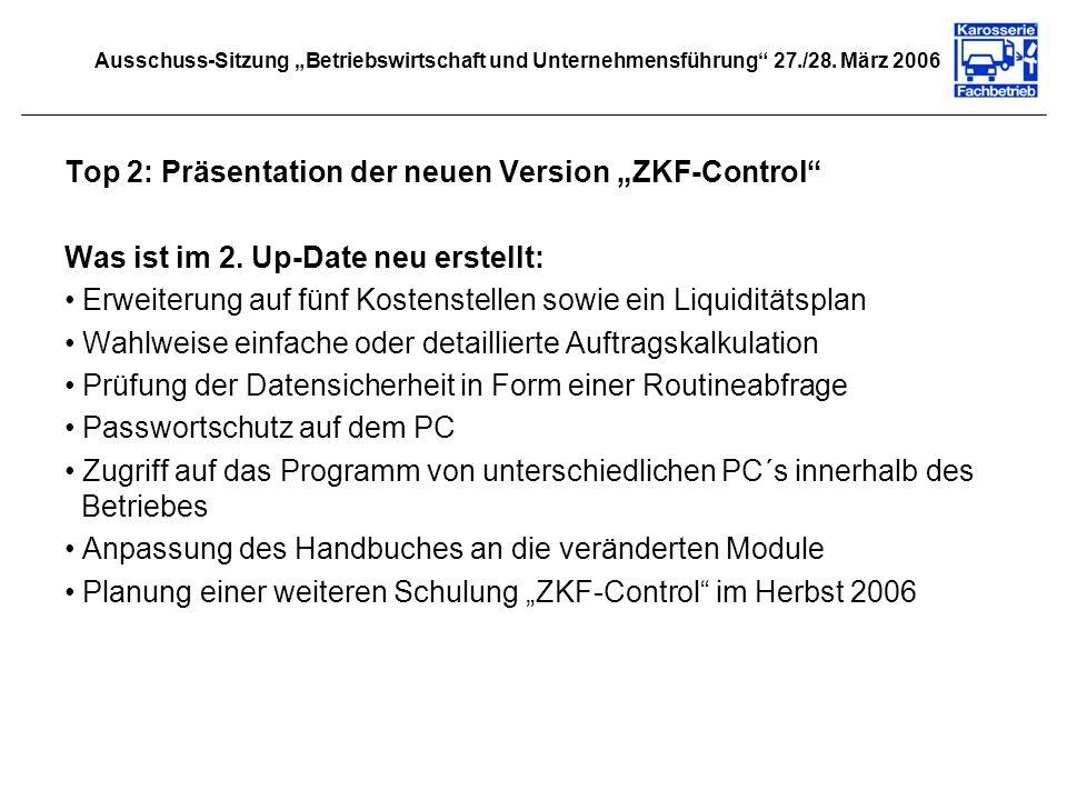 Top 3: Erstellung Branchenbericht 2005 Planung und Ablauf des Branchenberichtes: Versand des individuellen Fragebogens im April 2006 an die ZKF- Mitgliedsbetriebe Erinnerung per E-Mail an alle Mitgliedsbetriebe Verlängerung des Abgabetermins auf den 10.