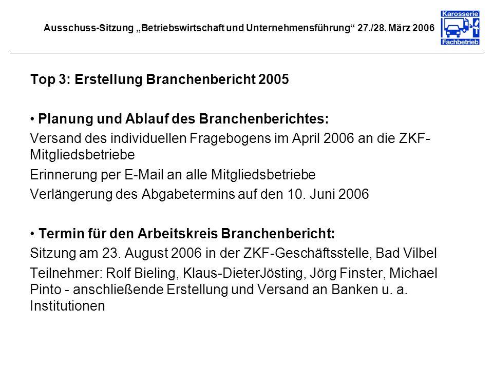 Top 3: Erstellung Branchenbericht 2005 Planung und Ablauf des Branchenberichtes: Versand des individuellen Fragebogens im April 2006 an die ZKF- Mitgl