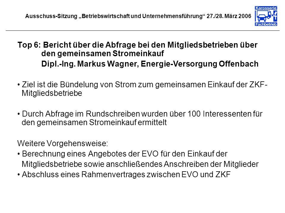 Top 6: Bericht über die Abfrage bei den Mitgliedsbetrieben über den gemeinsamen Stromeinkauf Dipl.-Ing. Markus Wagner, Energie-Versorgung Offenbach Zi